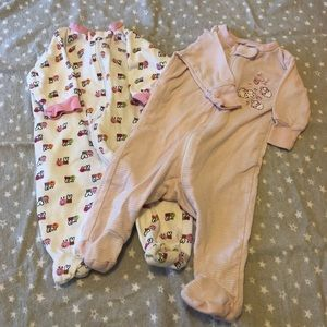 Two newborn girls pajamas